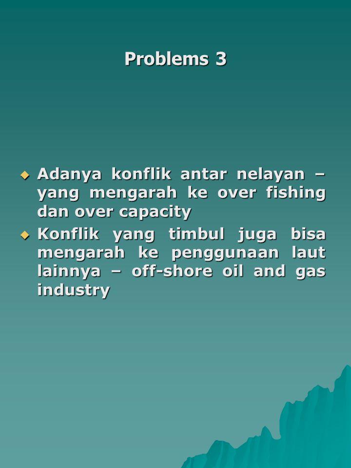Problems 3 Adanya konflik antar nelayan – yang mengarah ke over fishing dan over capacity.