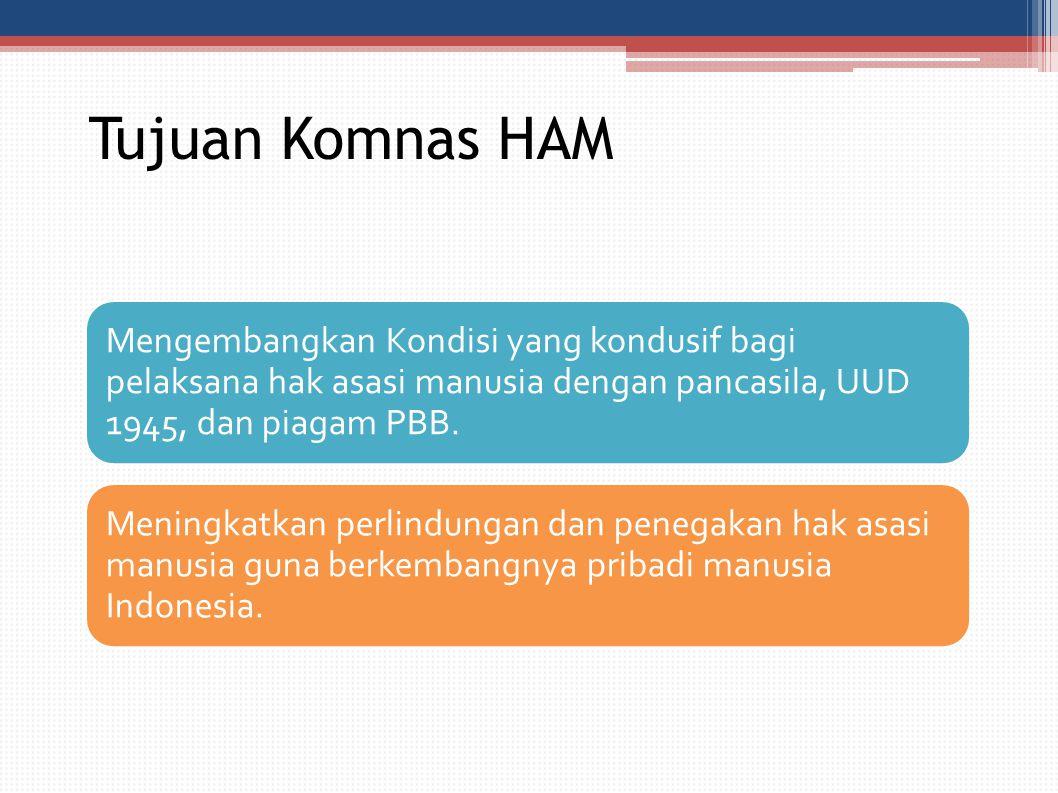 Tujuan Komnas HAM Mengembangkan Kondisi yang kondusif bagi pelaksana hak asasi manusia dengan pancasila, UUD 1945, dan piagam PBB.