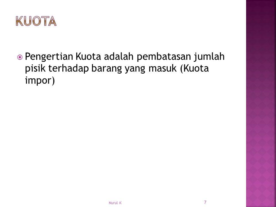 Kuota Pengertian Kuota adalah pembatasan jumlah pisik terhadap barang yang masuk (Kuota impor) Nurul K.