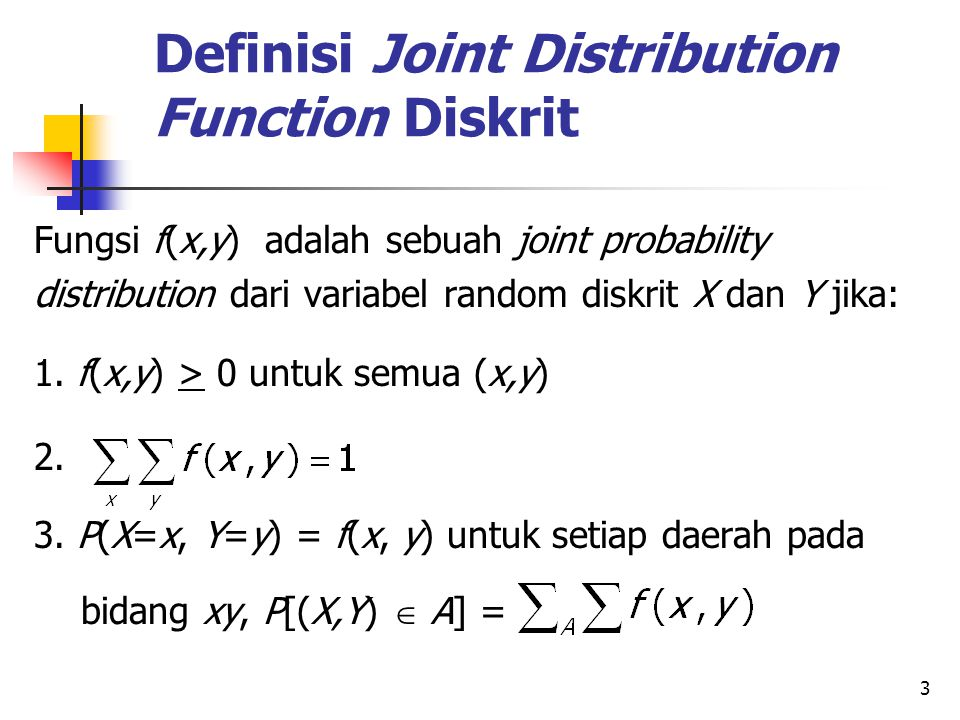 Definisi Joint Distribution Function Diskrit