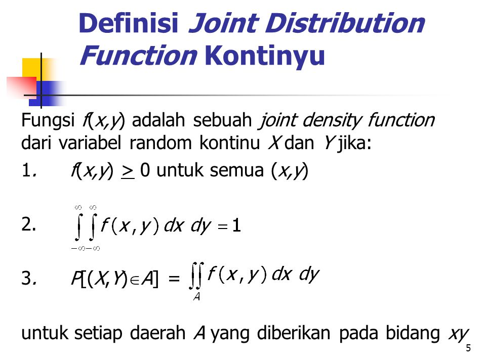 Definisi Joint Distribution Function Kontinyu
