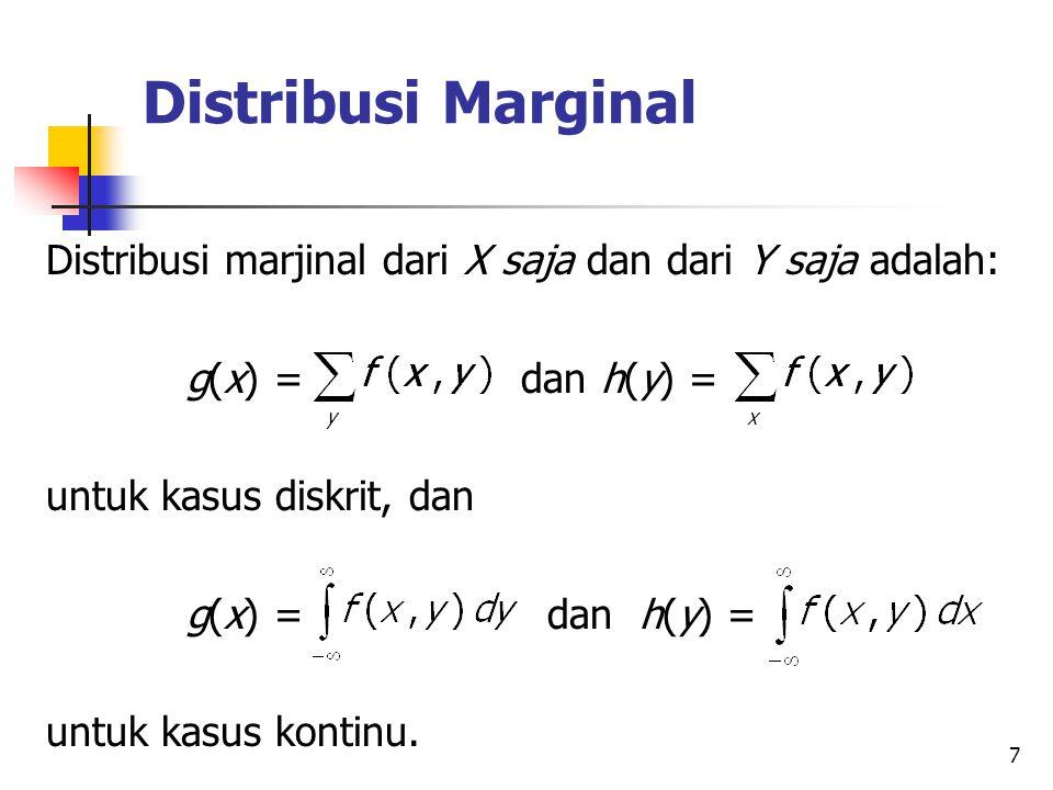 Distribusi Marginal Distribusi marjinal dari X saja dan dari Y saja adalah: g(x) = dan h(y) =