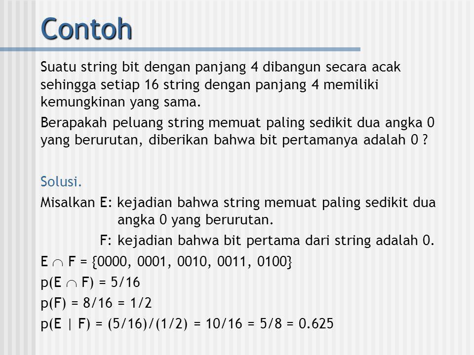 Contoh Suatu string bit dengan panjang 4 dibangun secara acak sehingga setiap 16 string dengan panjang 4 memiliki kemungkinan yang sama.
