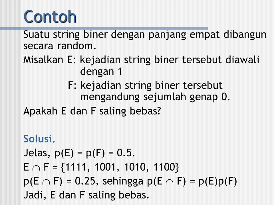 Contoh Suatu string biner dengan panjang empat dibangun secara random.