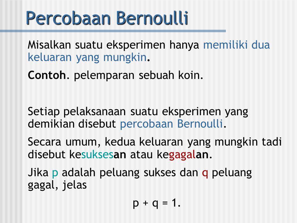 Percobaan Bernoulli Misalkan suatu eksperimen hanya memiliki dua keluaran yang mungkin. Contoh. pelemparan sebuah koin.