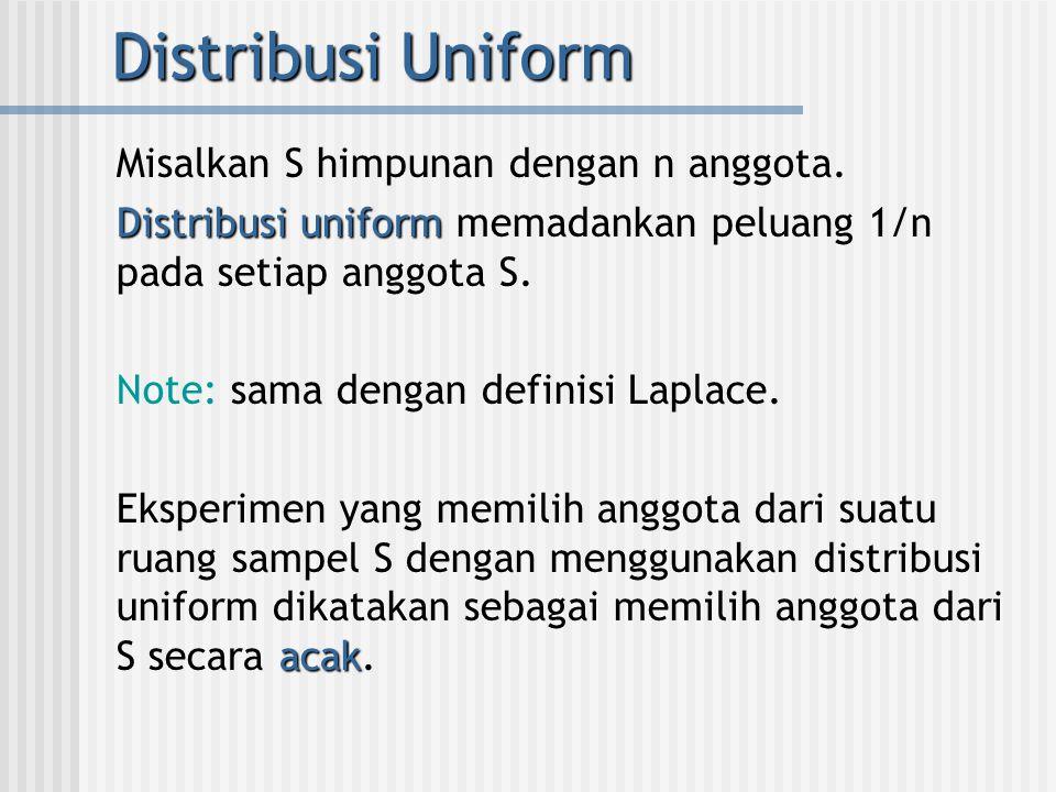 Distribusi Uniform Misalkan S himpunan dengan n anggota.