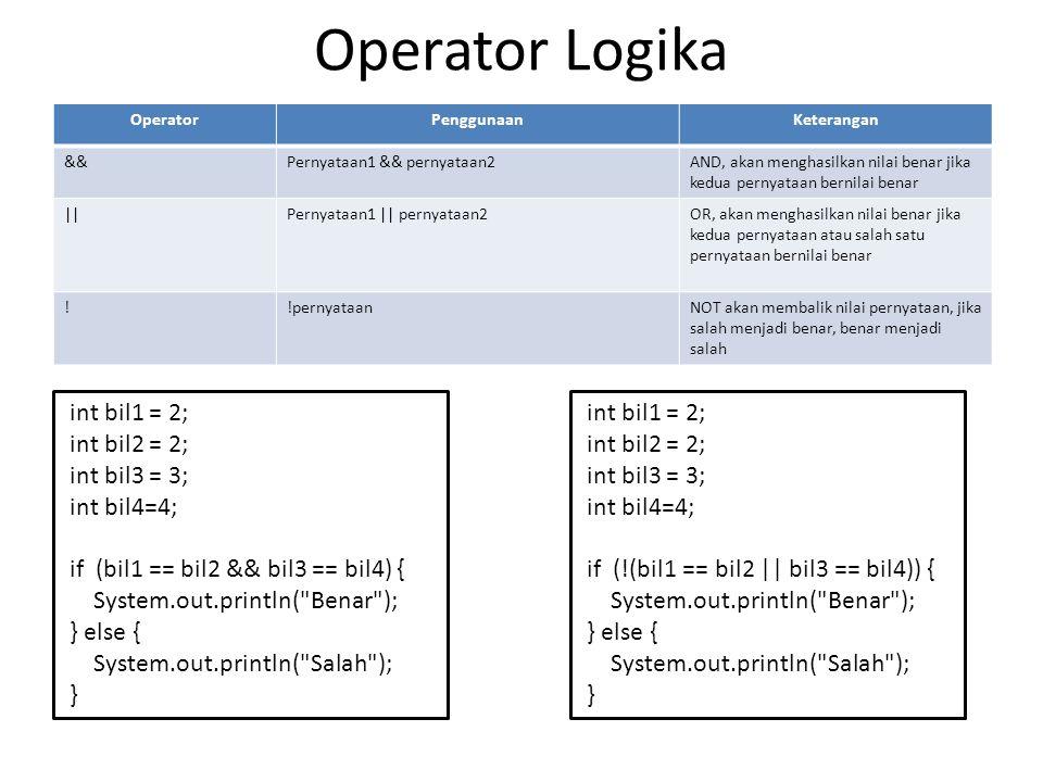 Operator Logika int bil1 = 2; int bil2 = 2; int bil3 = 3; int bil4=4;