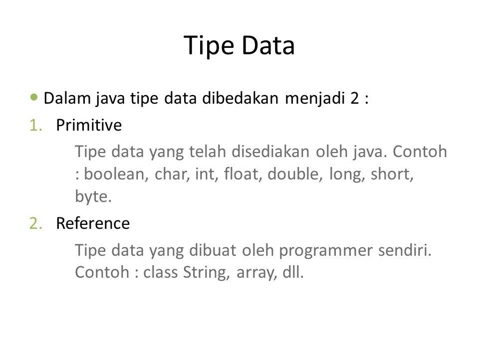 Tipe Data Dalam java tipe data dibedakan menjadi 2 : Primitive