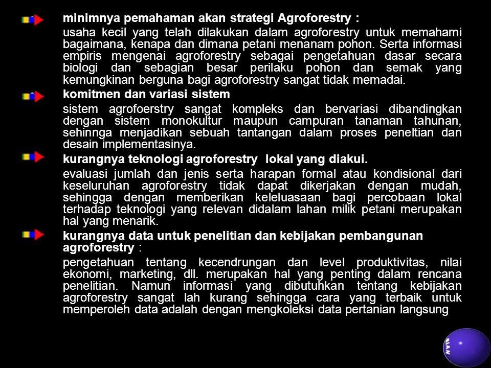 minimnya pemahaman akan strategi Agroforestry :