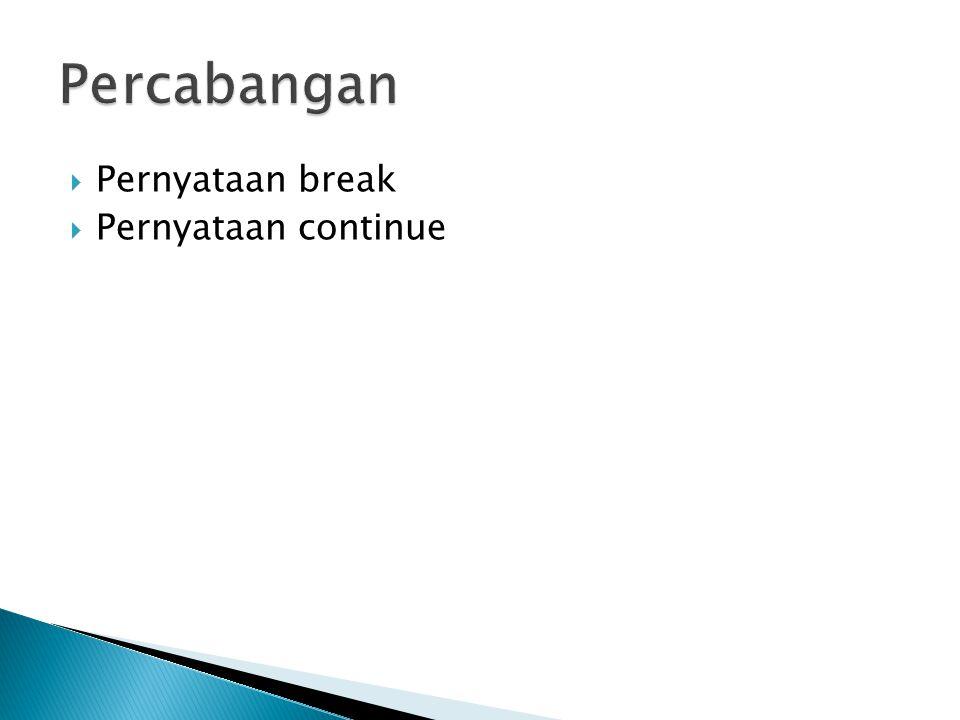 Percabangan Pernyataan break Pernyataan continue