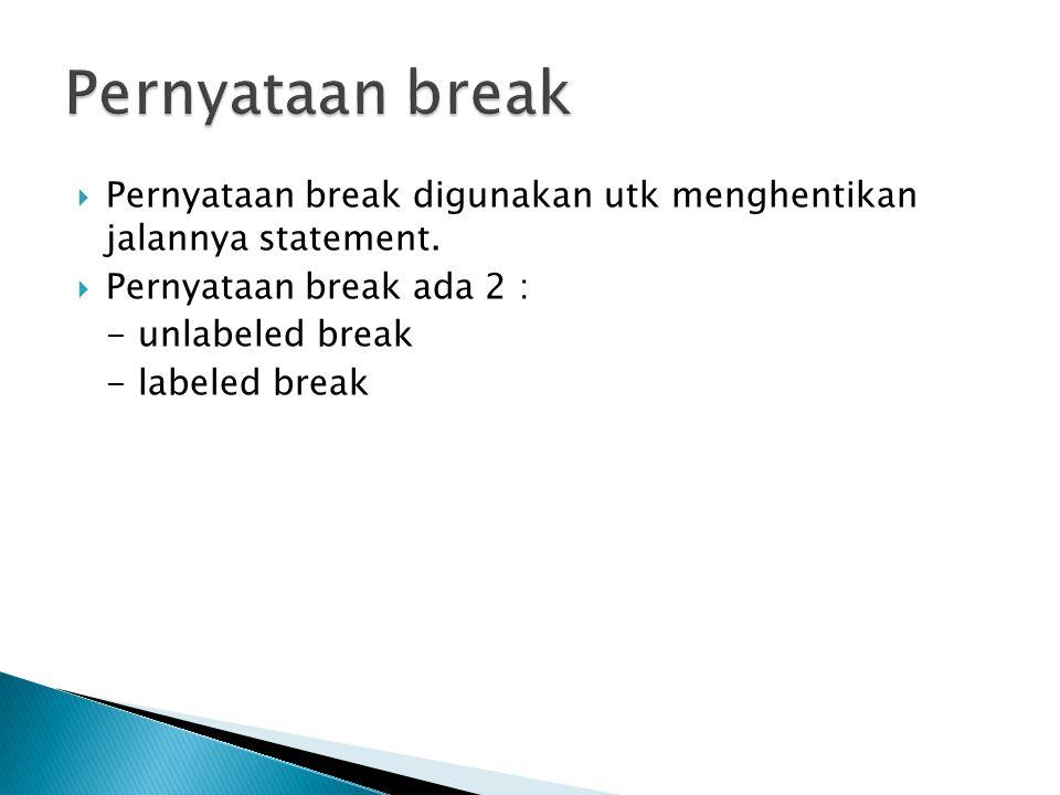 Pernyataan break Pernyataan break digunakan utk menghentikan jalannya statement. Pernyataan break ada 2 :