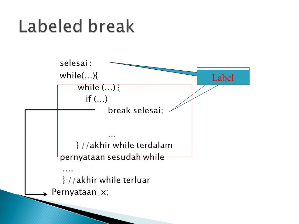 Labeled break selesai : Label while(…){ while (…) { if (…)