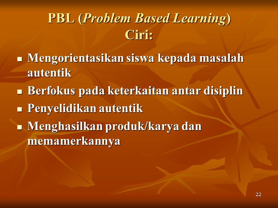 PBL (Problem Based Learning) Ciri: