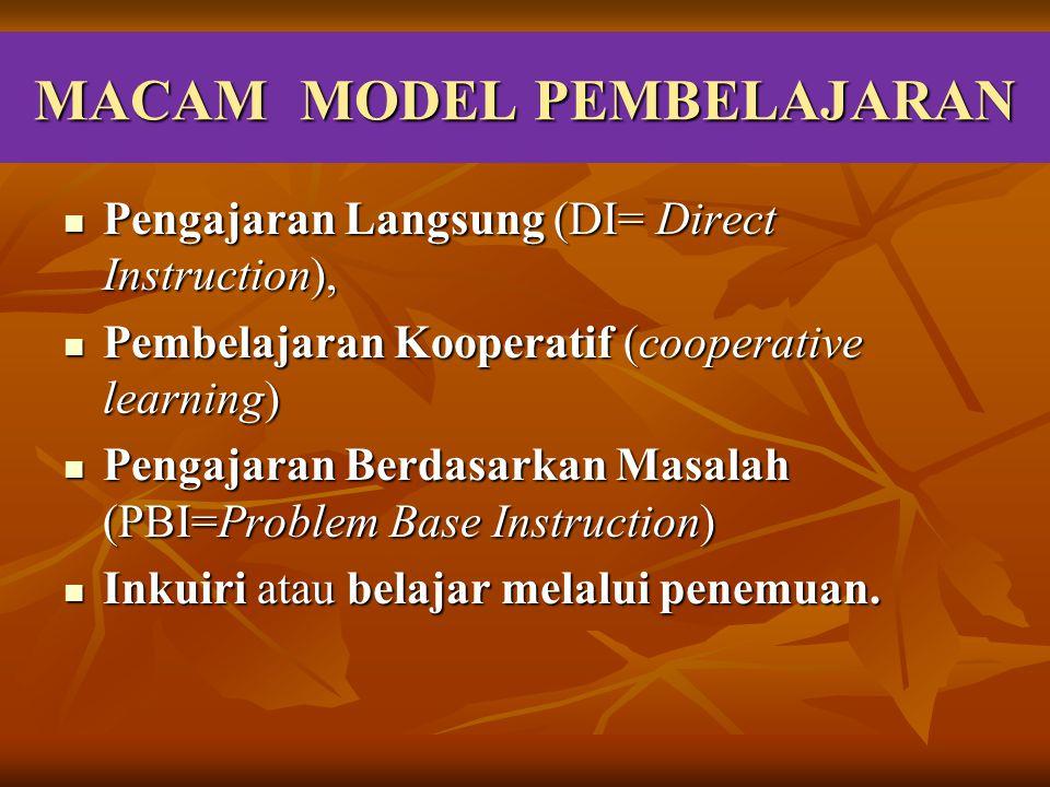 MACAM MODEL PEMBELAJARAN