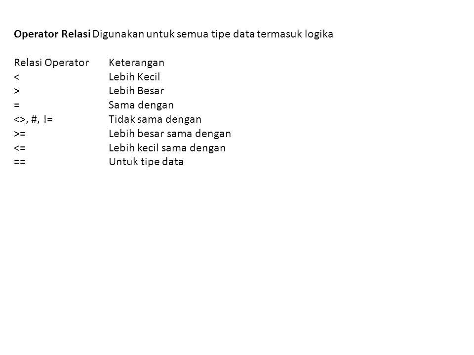 Operator Relasi Digunakan untuk semua tipe data termasuk logika