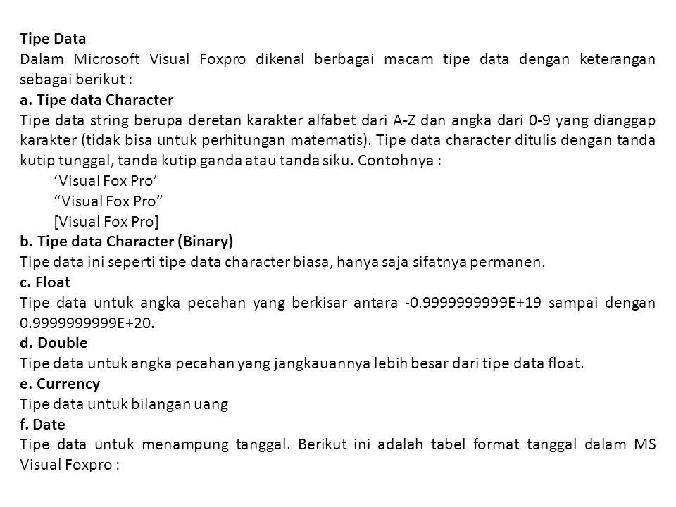 Tipe Data Dalam Microsoft Visual Foxpro dikenal berbagai macam tipe data dengan keterangan sebagai berikut :