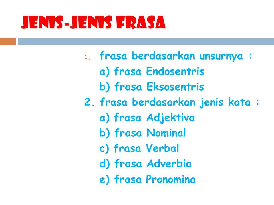 Jenis-Jenis frasa frasa berdasarkan unsurnya : a) frasa Endosentris