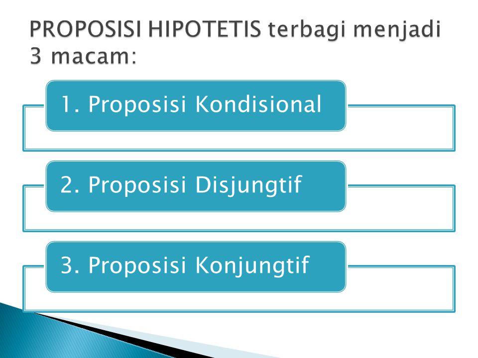 PROPOSISI HIPOTETIS terbagi menjadi 3 macam:
