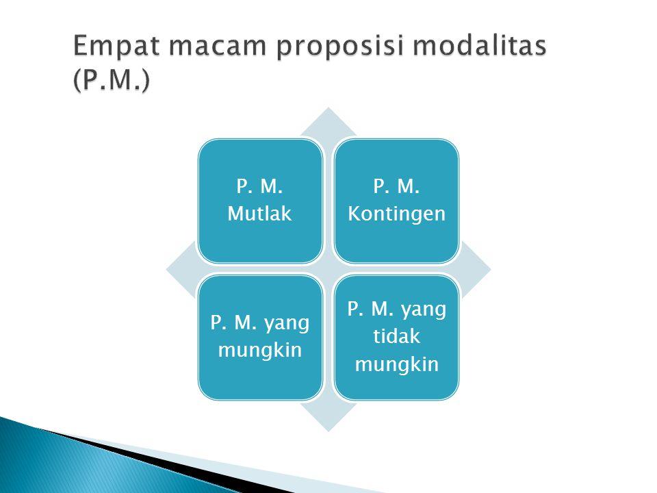 Empat macam proposisi modalitas (P.M.)