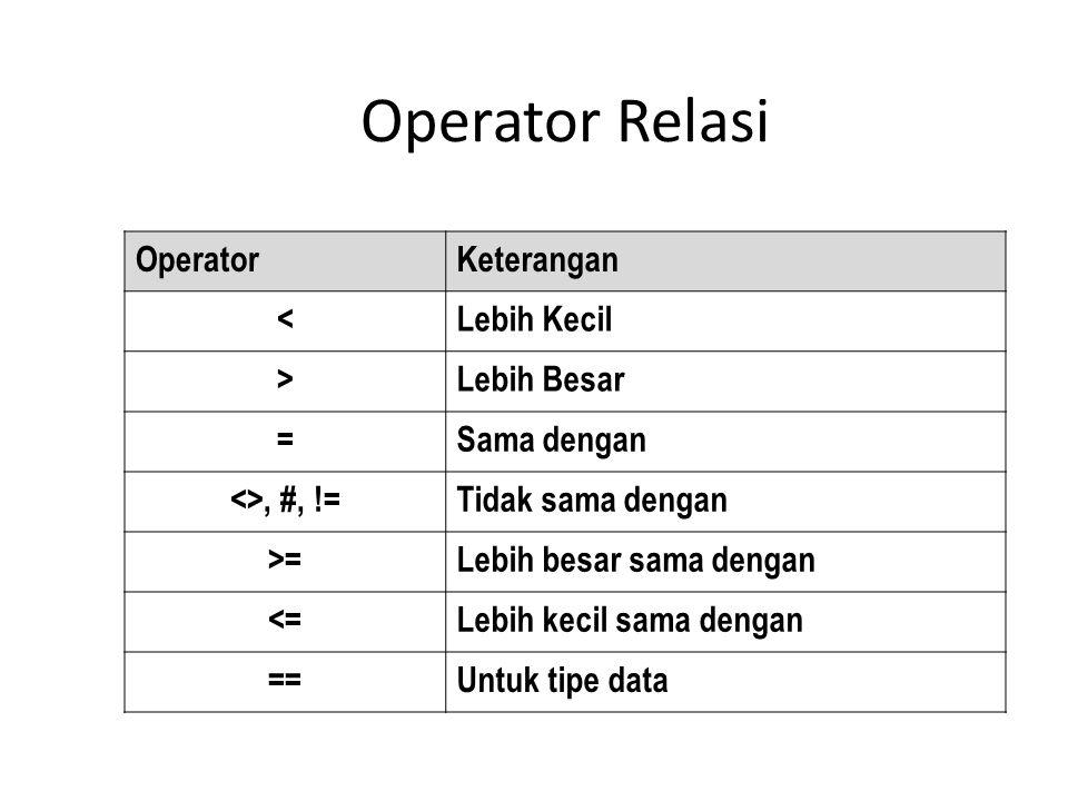 Operator Relasi Operator Keterangan < Lebih Kecil > Lebih Besar