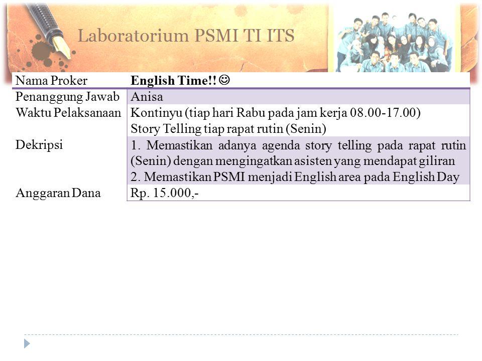 Nama Proker English Time!!  Penanggung Jawab. Anisa. Waktu Pelaksanaan. Kontinyu (tiap hari Rabu pada jam kerja 08.00-17.00)