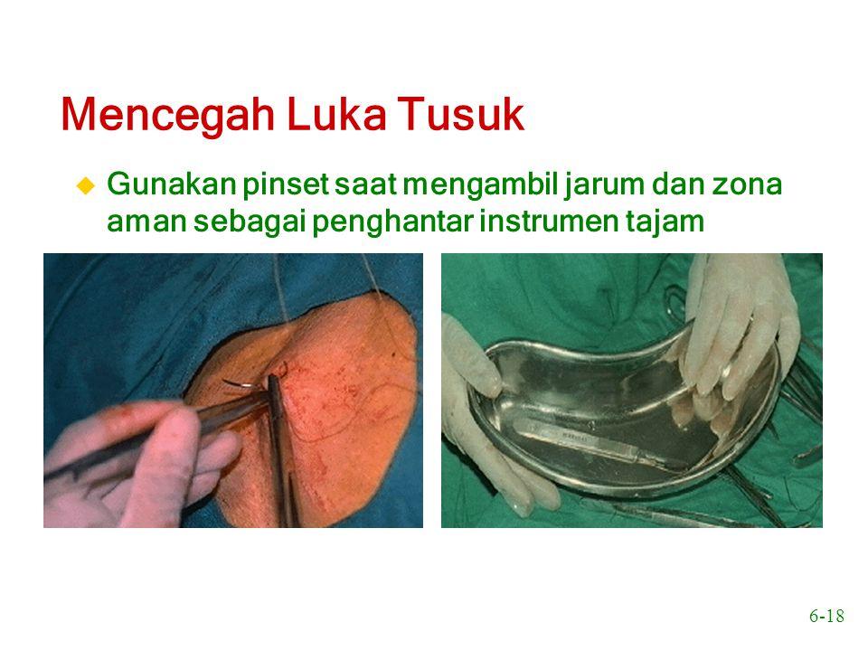 Mencegah Luka Tusuk Gunakan pinset saat mengambil jarum dan zona aman sebagai penghantar instrumen tajam.