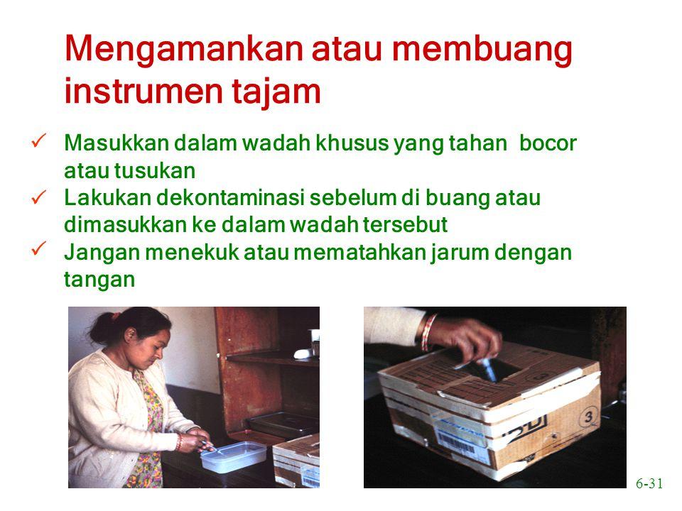 Mengamankan atau membuang instrumen tajam