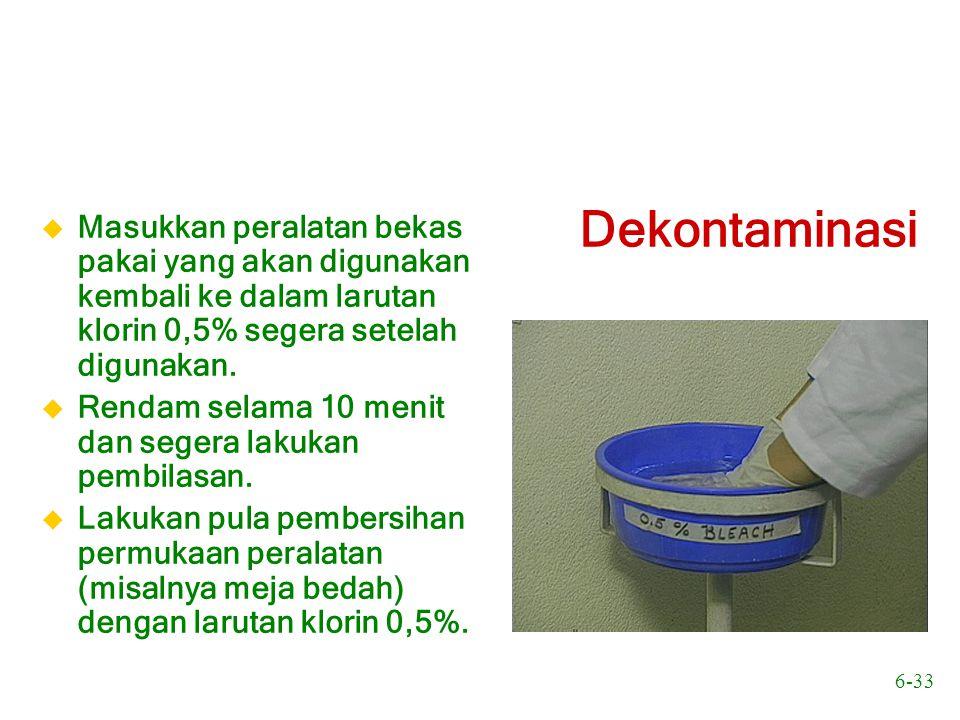 Masukkan peralatan bekas pakai yang akan digunakan kembali ke dalam larutan klorin 0,5% segera setelah digunakan.