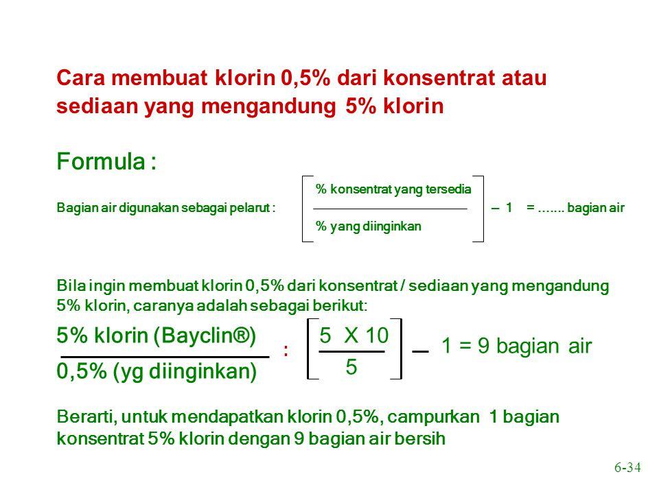 Cara membuat klorin 0,5% dari konsentrat atau sediaan yang mengandung 5% klorin