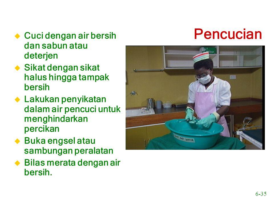 Pencucian Cuci dengan air bersih dan sabun atau deterjen