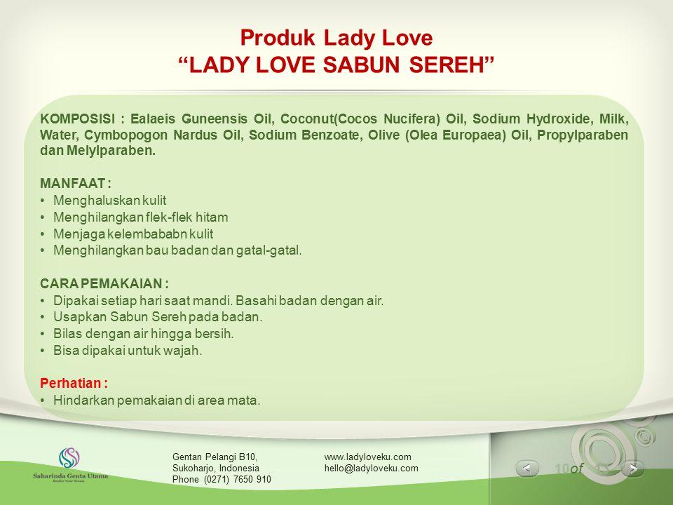 Produk Lady Love LADY LOVE SABUN SEREH