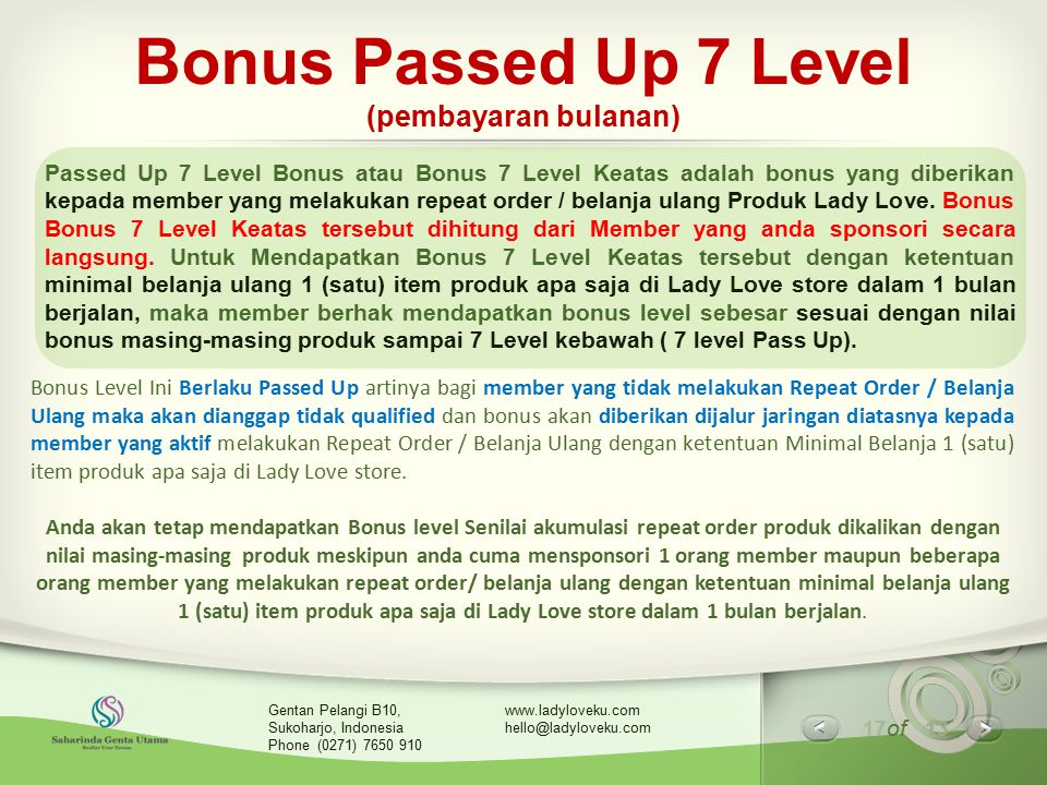 Bonus Passed Up 7 Level (pembayaran bulanan)