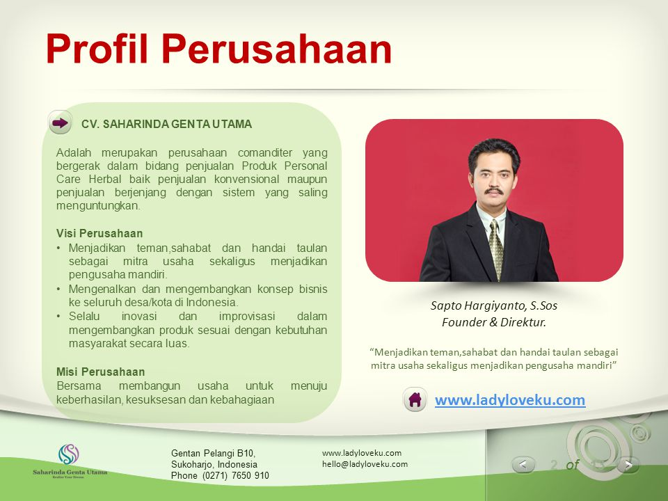 Profil Perusahaan www.ladyloveku.com Sapto Hargiyanto, S.Sos