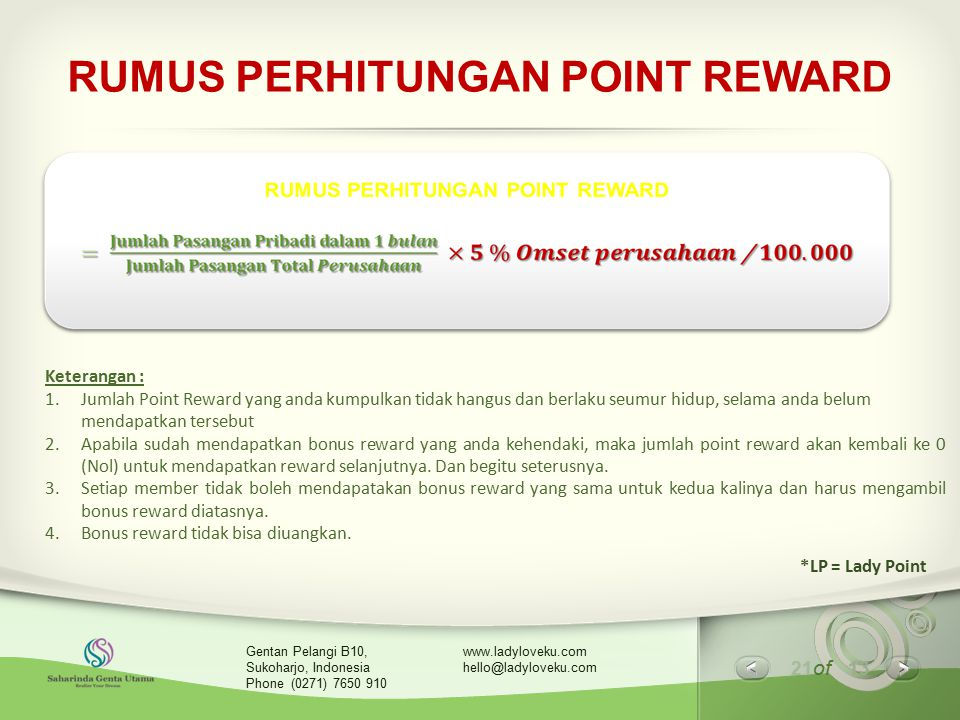 RUMUS PERHITUNGAN POINT REWARD