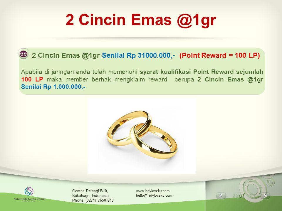 2 Cincin Emas @1gr 2 Cincin Emas @1gr Senilai Rp 31000.000,- (Point Reward = 100 LP)