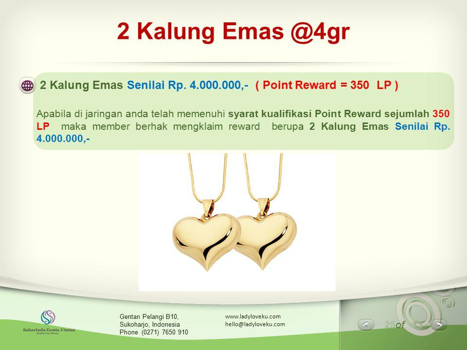 2 Kalung Emas @4gr 2 Kalung Emas Senilai Rp. 4.000.000,- ( Point Reward = 350 LP )