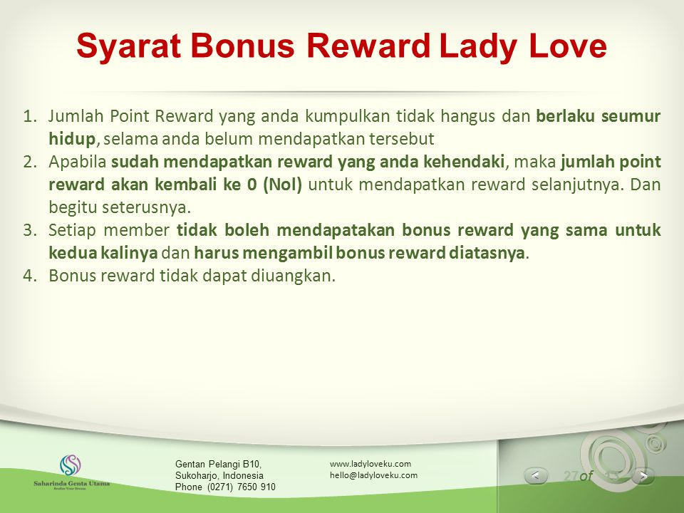 Syarat Bonus Reward Lady Love