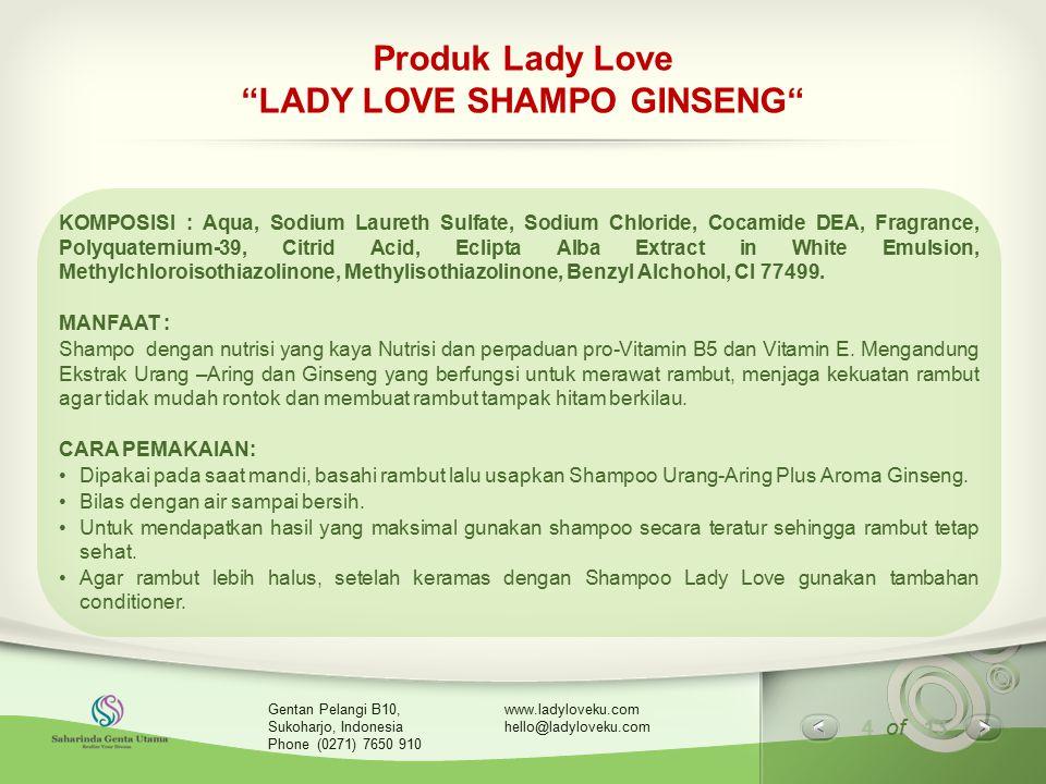 Produk Lady Love LADY LOVE SHAMPO GINSENG