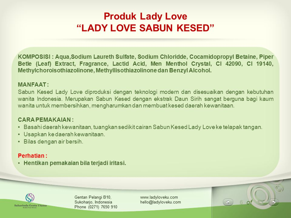Produk Lady Love LADY LOVE SABUN KESED