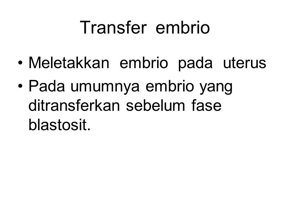 Transfer embrio Meletakkan embrio pada uterus