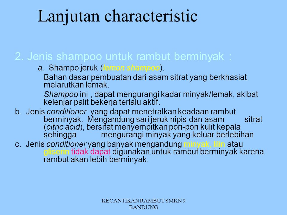 Lanjutan characteristic