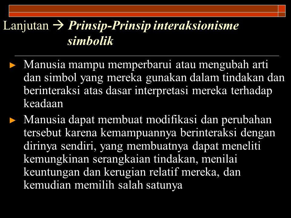 Lanjutan  Prinsip-Prinsip interaksionisme simbolik