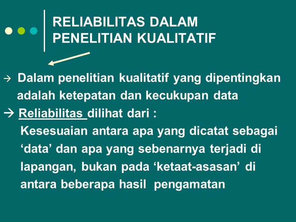 RELIABILITAS DALAM PENELITIAN KUALITATIF