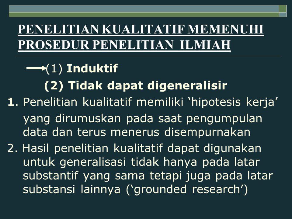 PENELITIAN KUALITATIF MEMENUHI PROSEDUR PENELITIAN ILMIAH