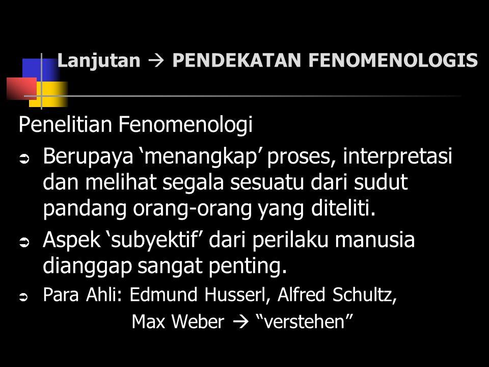 Lanjutan  PENDEKATAN FENOMENOLOGIS