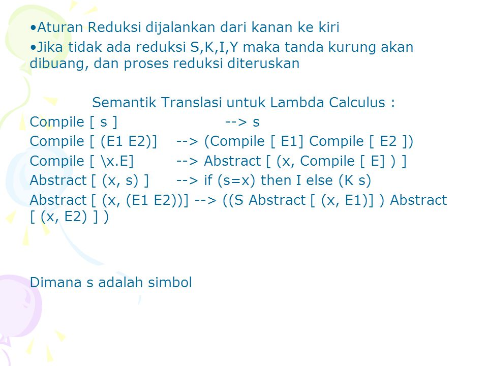 Semantik Translasi untuk Lambda Calculus :