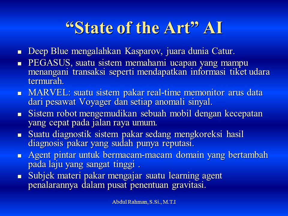 State of the Art AI Deep Blue mengalahkan Kasparov, juara dunia Catur.