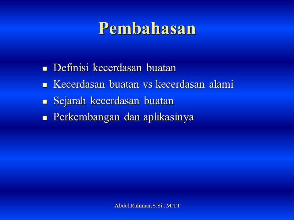 Pembahasan Definisi kecerdasan buatan