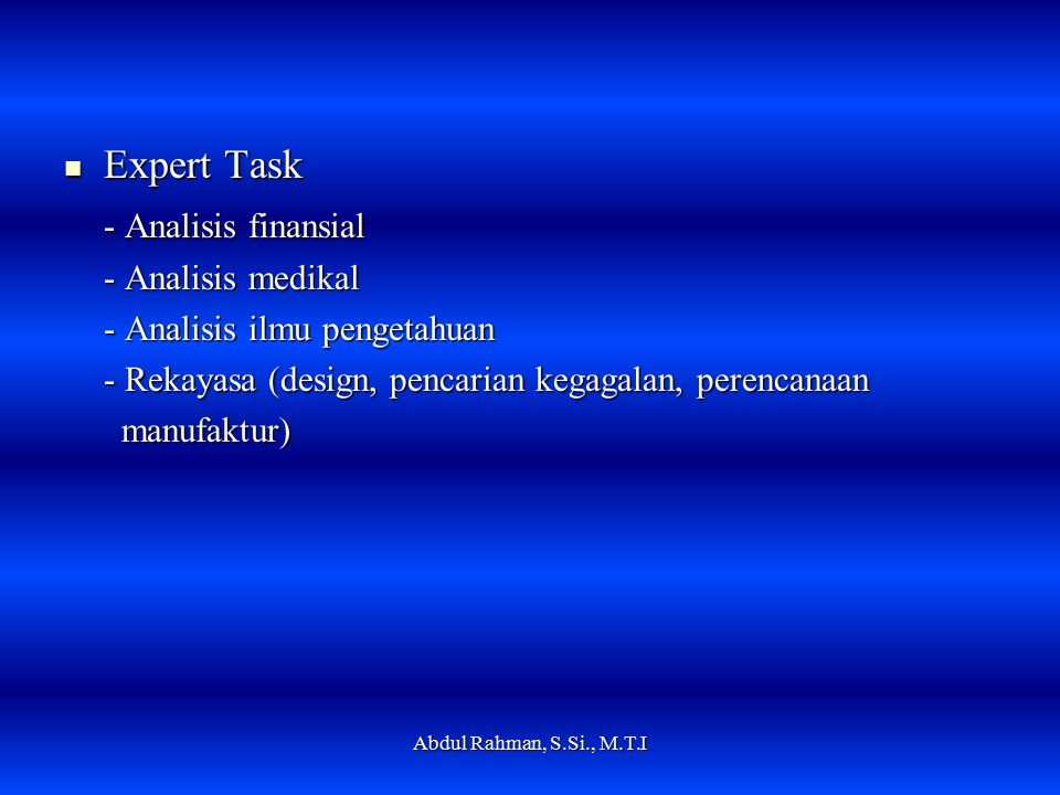 Expert Task - Analisis finansial - Analisis medikal