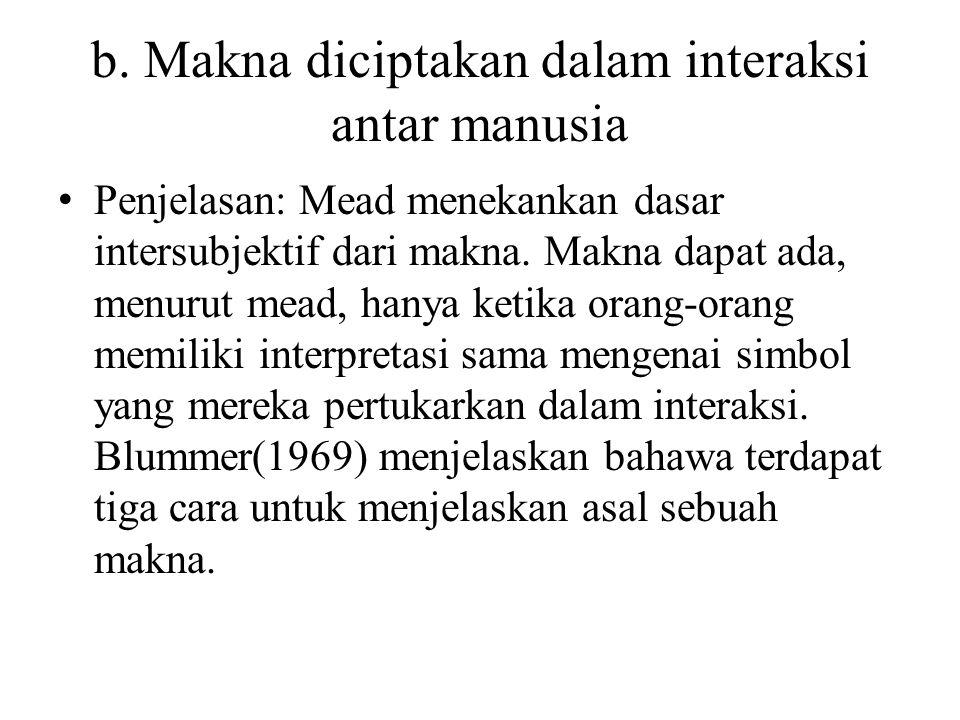 b. Makna diciptakan dalam interaksi antar manusia